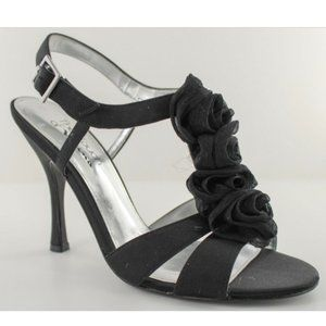 Touch of Nina Cammie Black Fabric Strappy Heel 8.5